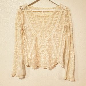 Xhilaration All Lace Embroidery Long Sleeves Top